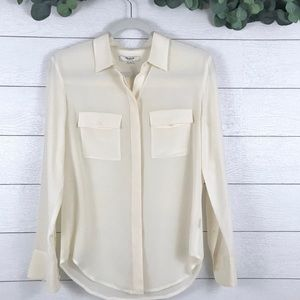 Madewell • Ivory Silk Button Up Collared Blouse